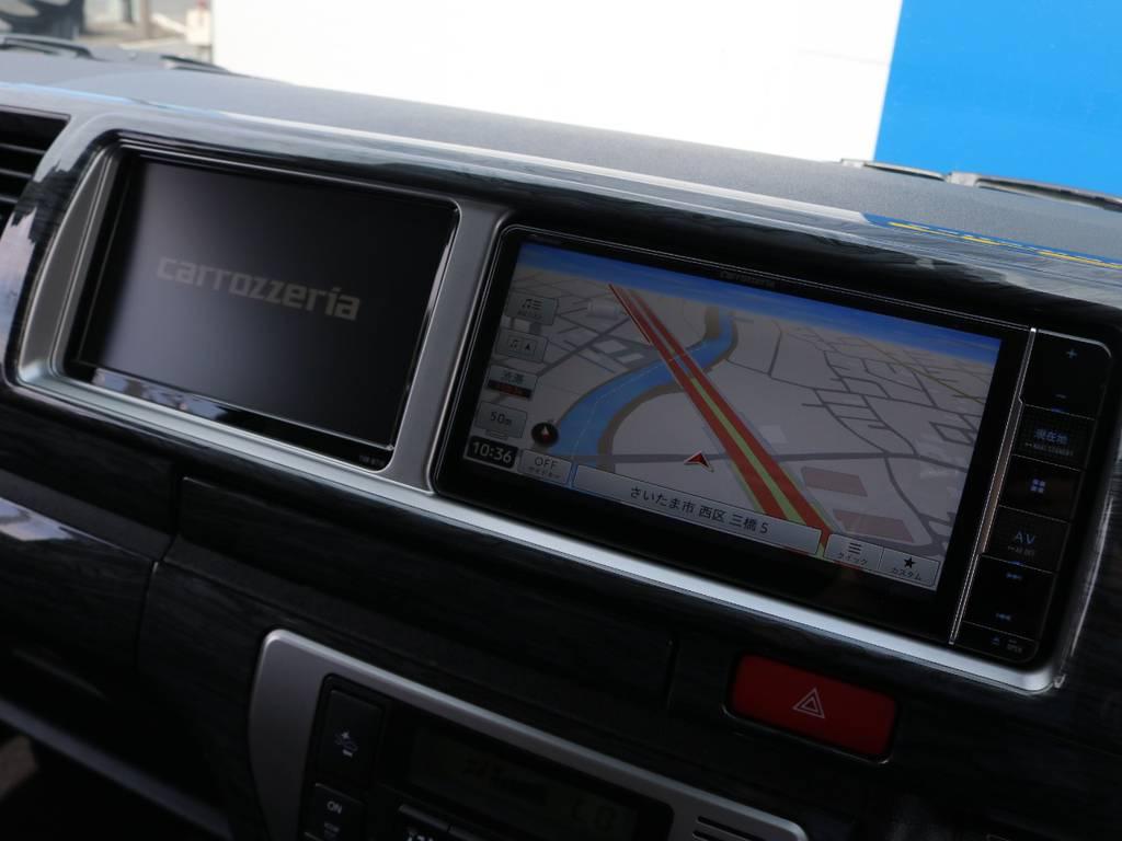 ナビは画質良好なパイオニアのフルセグSDナビ搭載!嬉しいBluetooth対応です♪ | トヨタ ハイエース 2.7 GL ロング ミドルルーフ 4WD アレンジR1 トリプルナビ