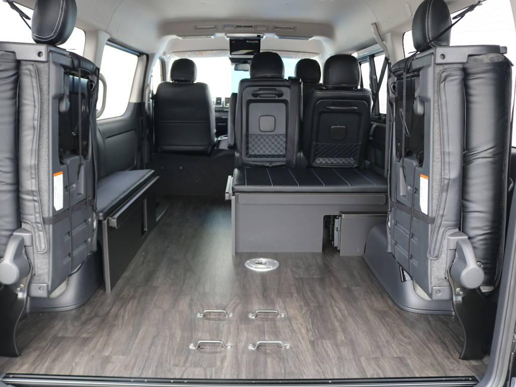 全て取り外せば広いスペースが設けられます♪ | トヨタ ハイエース 2.7 GL ロング ミドルルーフ 4WD アレンジR1 トリプルナビ