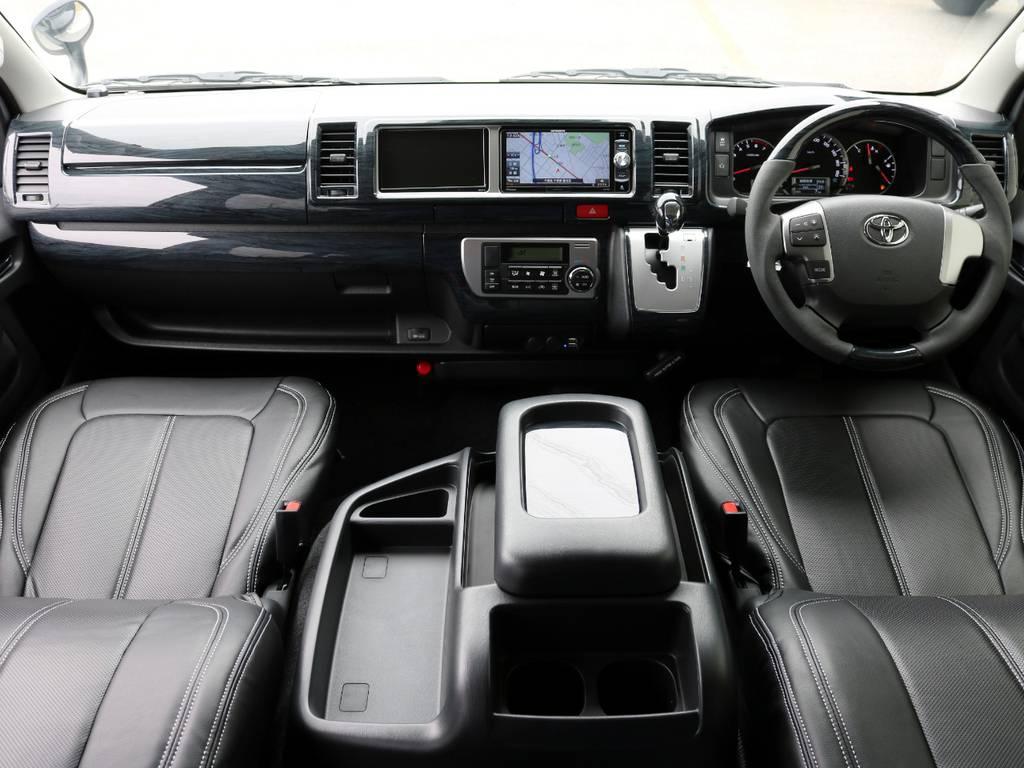 全席黒革調シートカバー・黒木目調インテリアパネル装着済み♪ | トヨタ ハイエース 2.7 GL ロング ファインテックツアラー