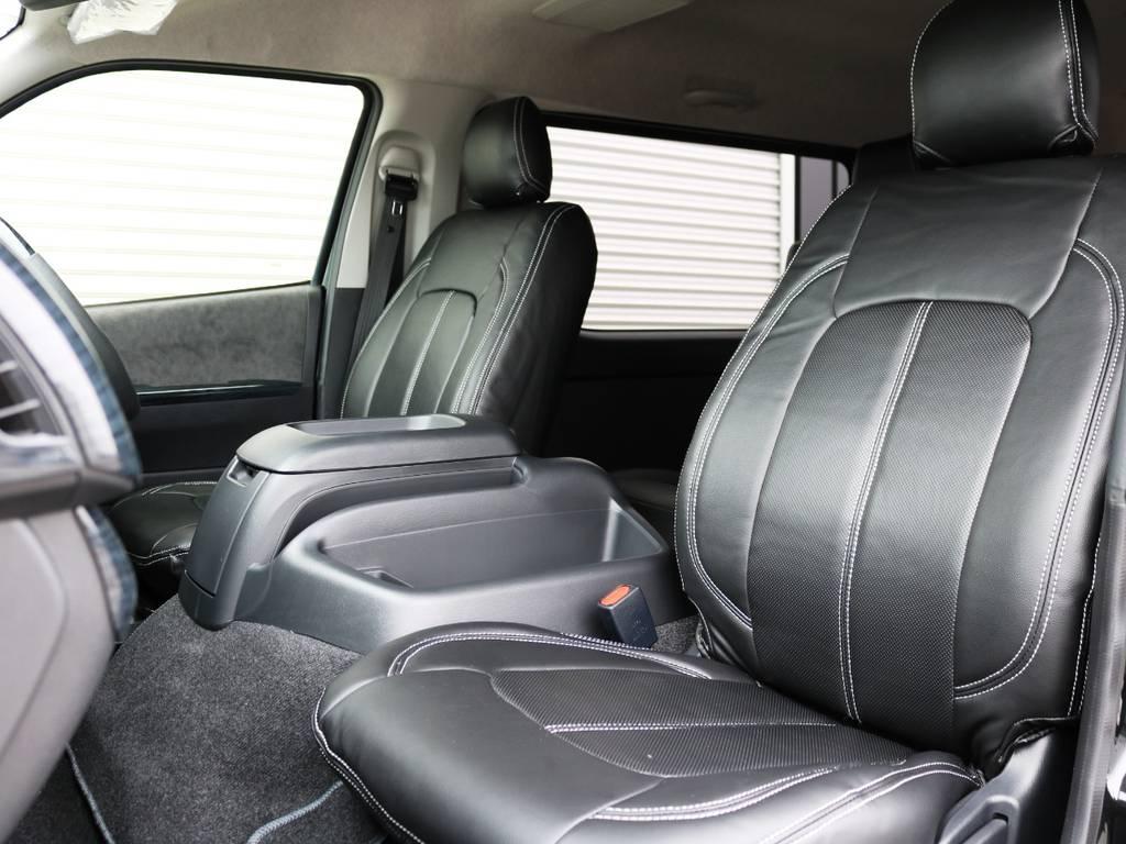 全席黒革調シートカバー装着済みです♪ | トヨタ ハイエース 2.7 GL ロング ファインテックツアラー