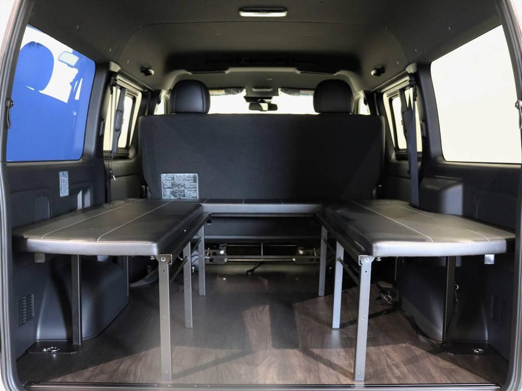 ベンチシートとしてもお使い頂けます! | トヨタ ハイエースバン 2.7 スーパーGL ダークプライムⅡ ワイド ミドルルーフ ロングボディ 4WD 内装架装アレンジFU-Wスライド