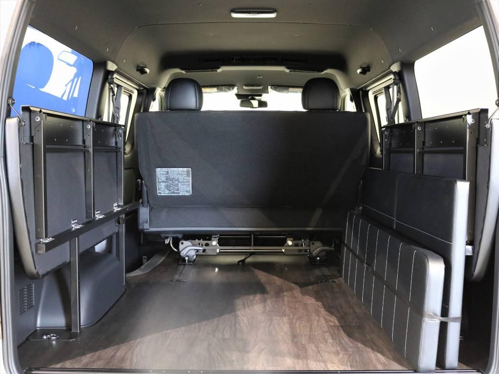 ベットペネル跳ね上げで広大ばラゲッジスペースを作成可能! | トヨタ ハイエースバン 2.7 スーパーGL ダークプライムⅡ ワイド ミドルルーフ ロングボディ 4WD 内装架装アレンジFU-Wスライド