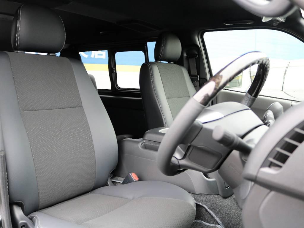 専用ハーフレザーシート♪ | トヨタ ハイエースバン 2.8 スーパーGL ダークプライムⅡ ロングボディ ディーゼルターボ Delfinoカスタム フルセグナビ