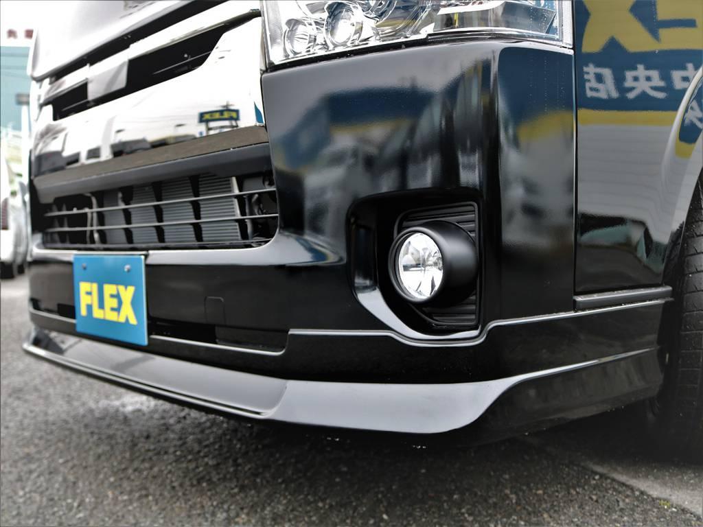 FLEXオリジナルDelfinoLineフロントスポイラー! | トヨタ ハイエースバン 2.8 スーパーGL ダークプライムⅡ ロングボディ ディーゼルターボ Delfinoカスタム フルセグナビ