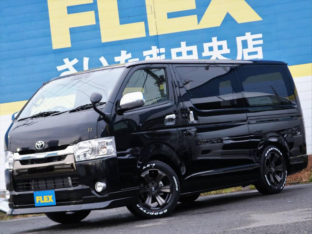 タイヤにもフレックスのオリジナルの2年間有効タイヤ保証付きです♪ | トヨタ ハイエースバン 2.8 スーパーGL 50TH アニバーサリー リミテッド ロングボディ ディーゼルターボ FLEXカスタム フルセグナビPKG