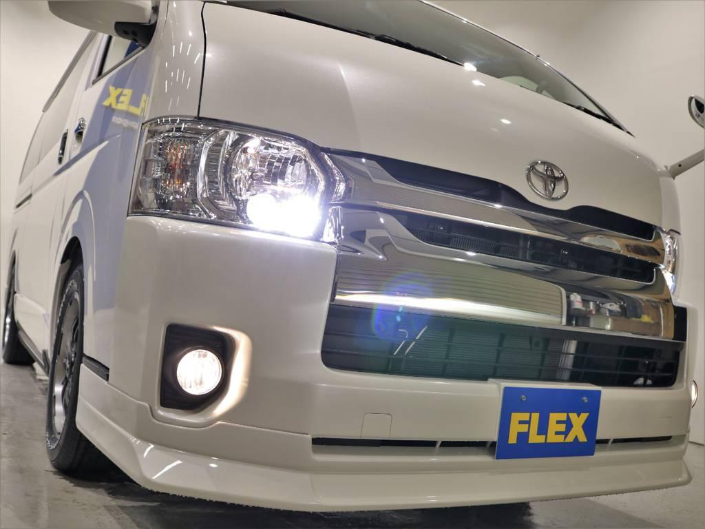 FLEXオリジナルフロントリップスポイラー装着! | トヨタ ハイエース 2.7 GL ロング ファインテックツアラー 4WD 特別架装車ファインテックツアラー