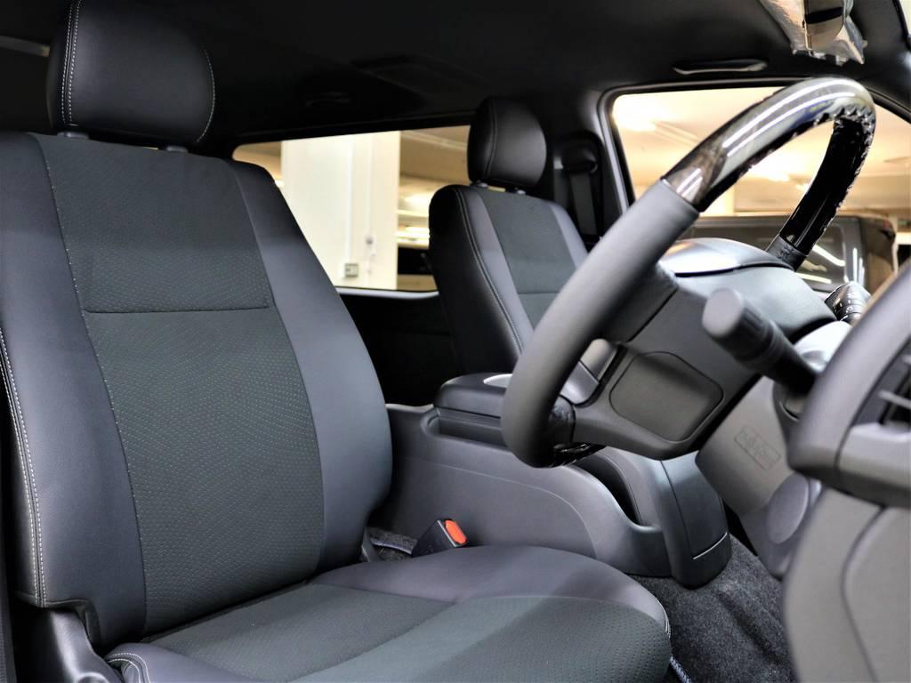 特別仕様専用ハーフレザーシート! | トヨタ ハイエースバン 2.8 スーパーGL ダークプライムⅡ ロングボディ ディーゼルターボ 4WD ライトカスタム  ナビ・ETC付
