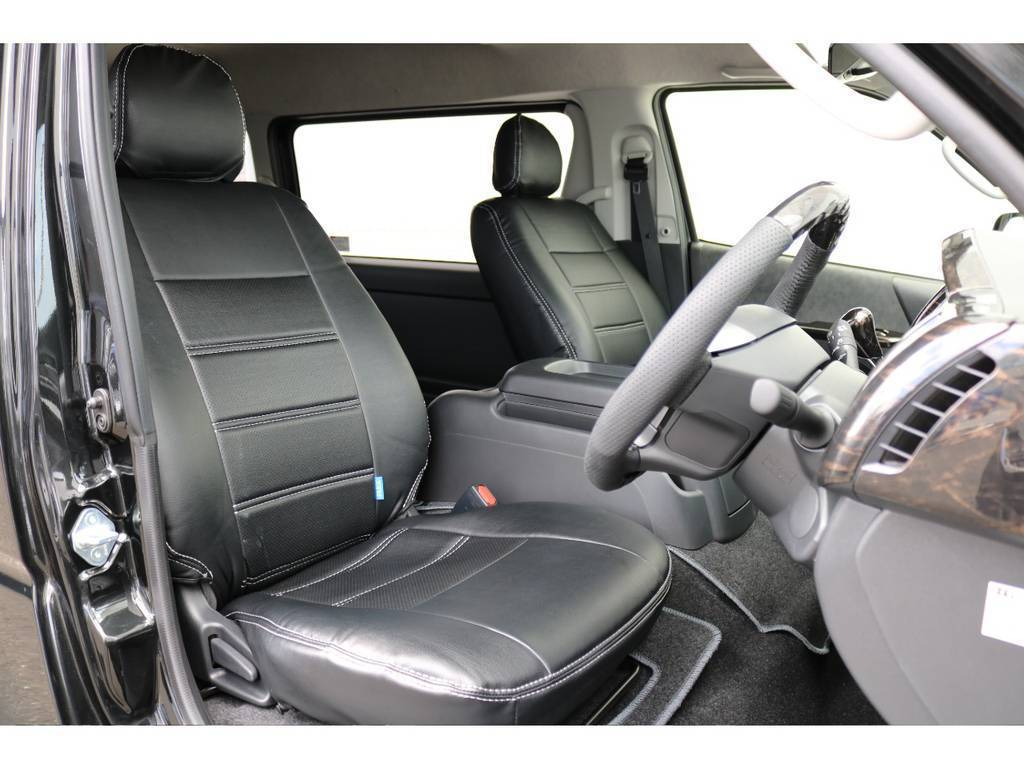 フレックスオリジナル黒革調シートカバー!! | トヨタ ハイエース 2.7 GL ロング ミドルルーフ 4WD TSS付アレンジR1