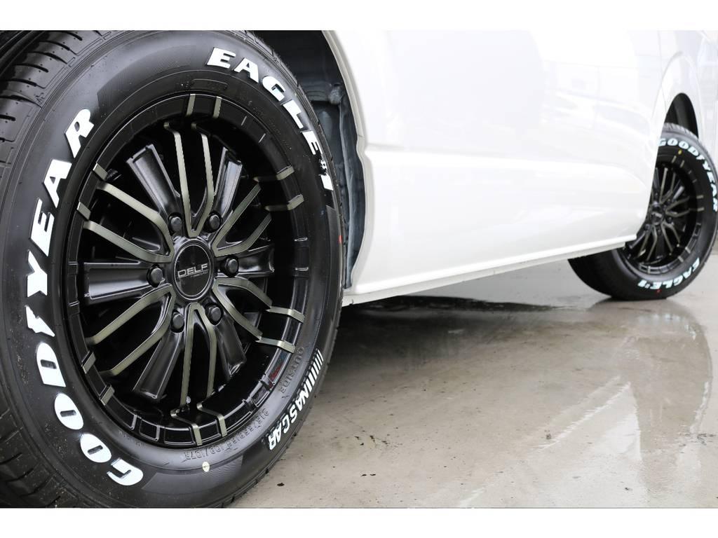 デルフMFゼロワン16インチAW/グッドイヤーナスカー16インチタイヤ お好みのタイヤアルミに履き替えも大歓迎です♪ | トヨタ ハイエース 2.7 GL ロング ミドルルーフ 4WD アレンジVer2