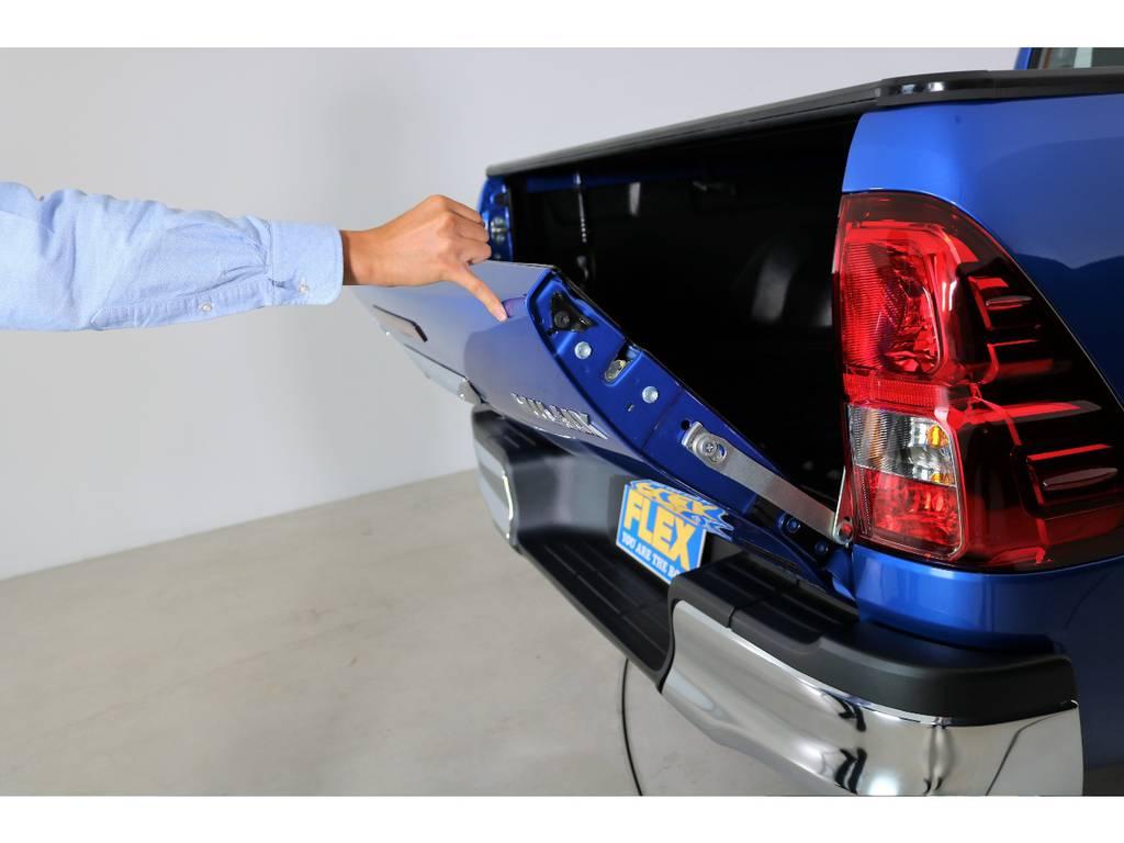 バックドアアシストも装着致しました! | トヨタ ハイラックス 2.4 Z ディーゼルターボ 4WD Z 11インチナビ 2インチUP