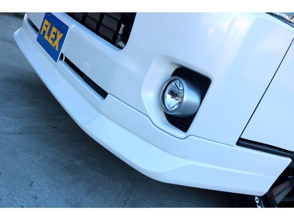 FLEXオリジナル Delfino Lineフロントスポイラーを装着!! | トヨタ ハイエースバン 2.8 スーパーGL 50TH アニバーサリー リミテッド ロングボディ ディーゼルターボ 4WD 50TH