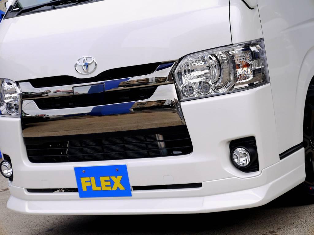フレックスオリジナル DelfinoLineフロントスポイラーをセット!! | トヨタ ハイエースバン 2.8 スーパーGL ダークプライムⅡ ロングボディ ディーゼルターボ ライトカスタムパッケージ