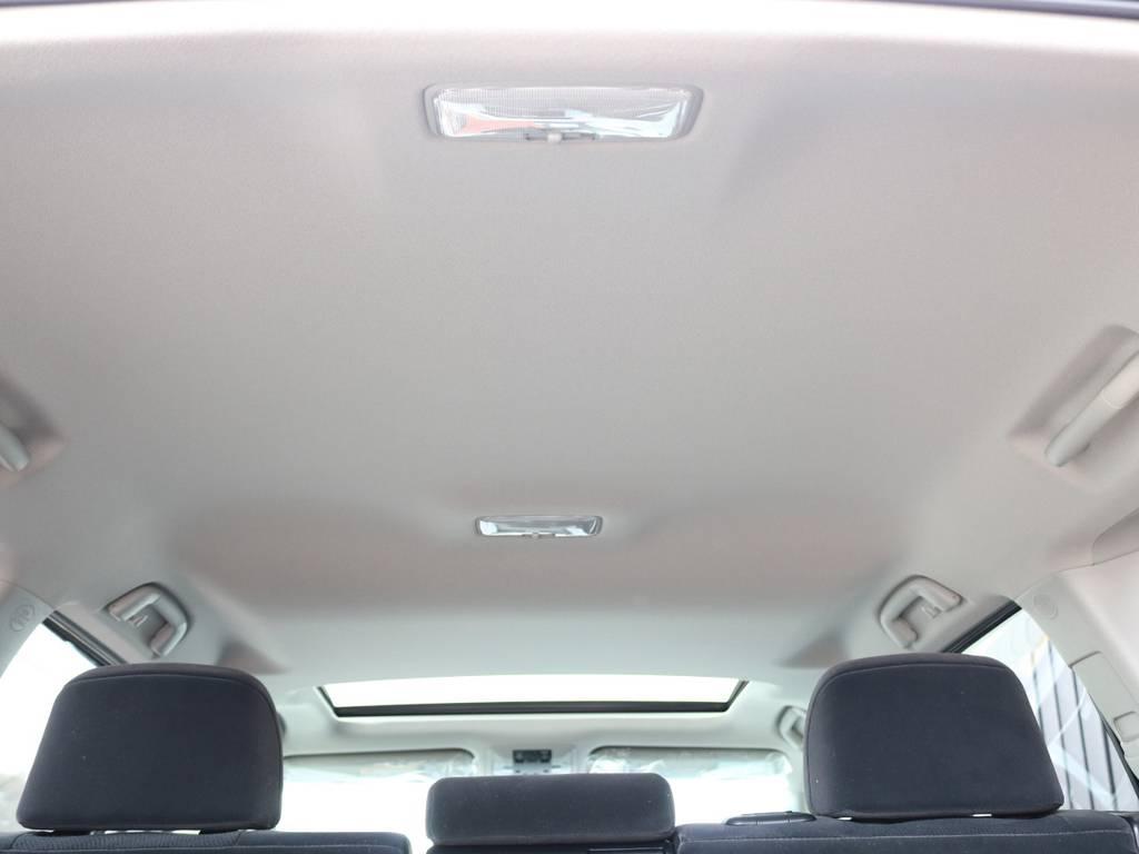 広々した天井!フリップダウンモニターの取り付け事例もございます。   トヨタ ランドクルーザープラド 2.8 TX ディーゼルターボ 4WD 7人 新車未登録車 9インチナビ