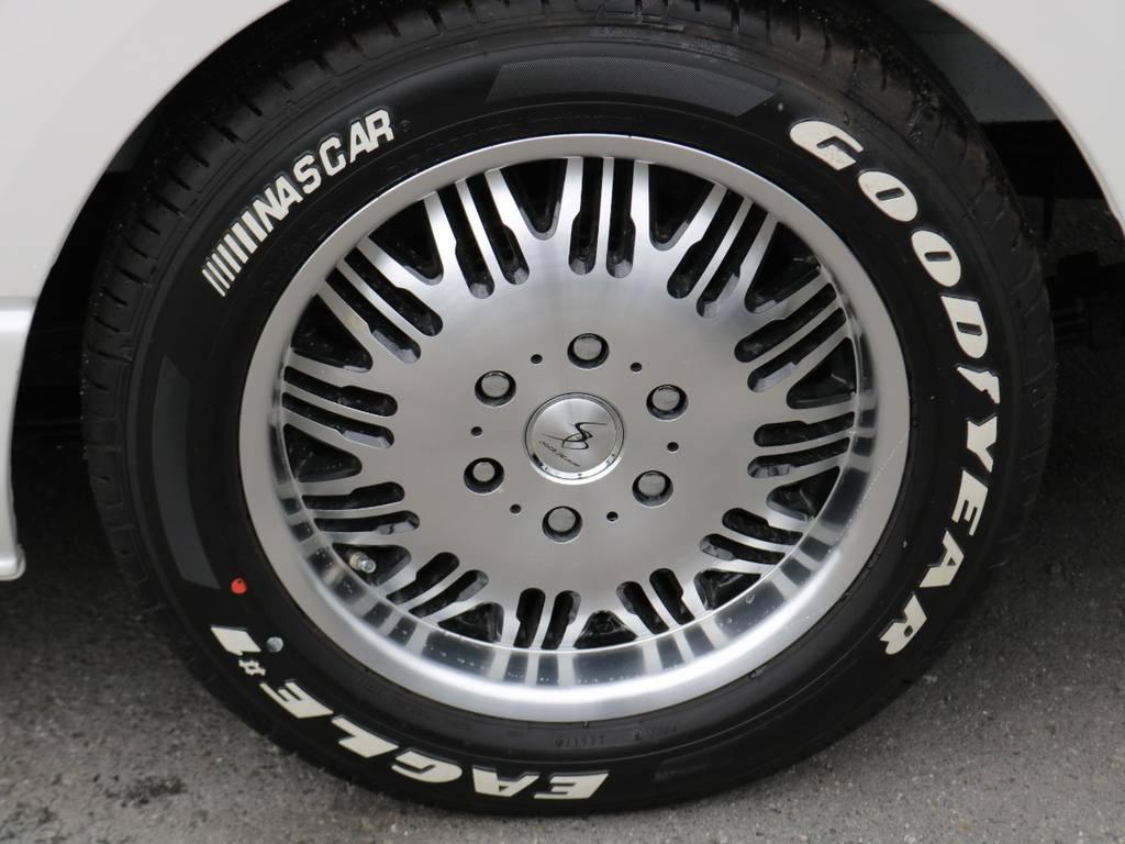 シルクブレイズのアルミホイールにグッドイヤーのナスカータイヤを装着! | トヨタ ハイエース 2.7 GL ロング ミドルルーフ アレンジR1 ライトPKG