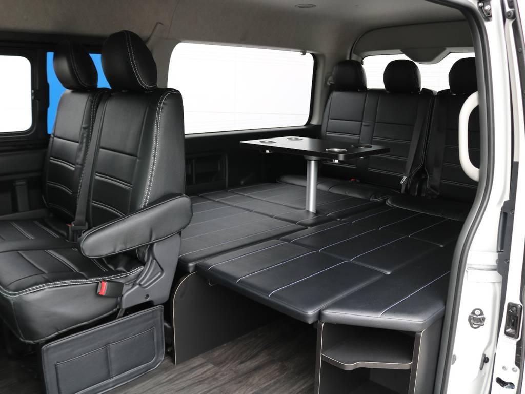 取り外し簡単なセンターテーブルに収納自在なベッドキット仕様です! | トヨタ ハイエース 2.7 GL ロング ミドルルーフ アレンジR1 ライトPKG