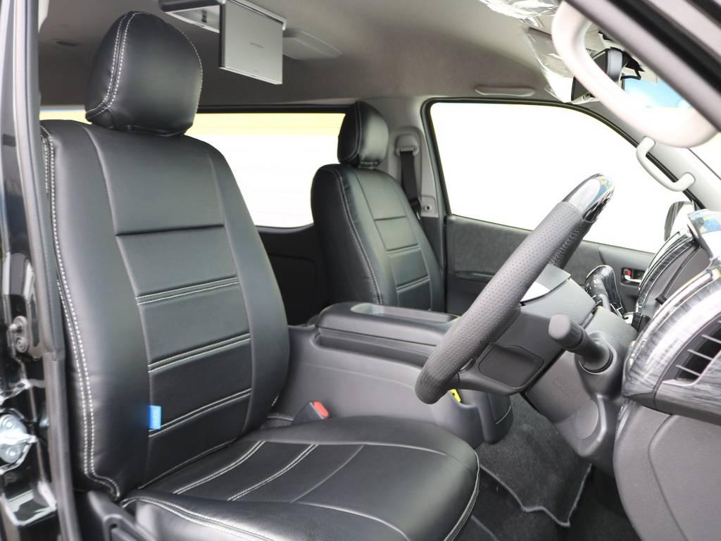 全席FLEXオリジナルシートカバー装着済み! | トヨタ ハイエース 2.7 GL ロング ミドルルーフ TSS付 R1