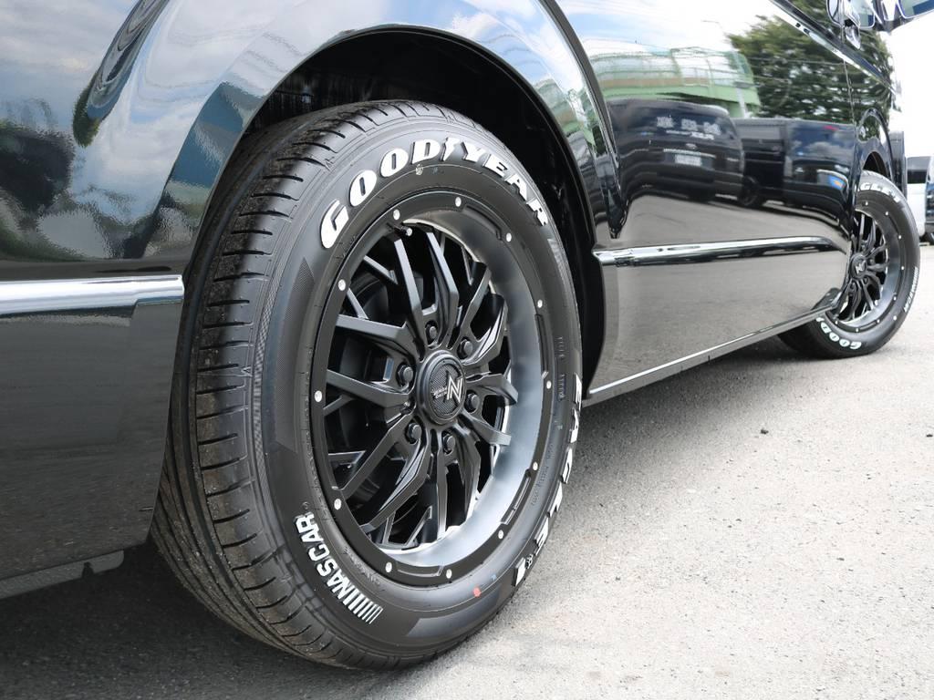 2インチのローダウン施工済み!公認も取得してからのご納車ですのでご安心ください♪ | トヨタ ハイエース 2.7 GL ロング ミドルルーフ TSS付 R1