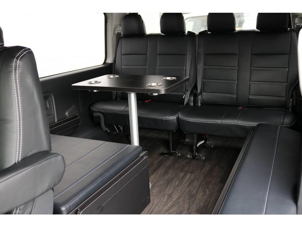 オリジナル内装架装アレンジR1はテーブルセットも付いています!!車内での食事に便利です! | トヨタ ハイエース 2.7 GL ロング ミドルルーフ アレンジR1 ビッグX ETC2.0搭載