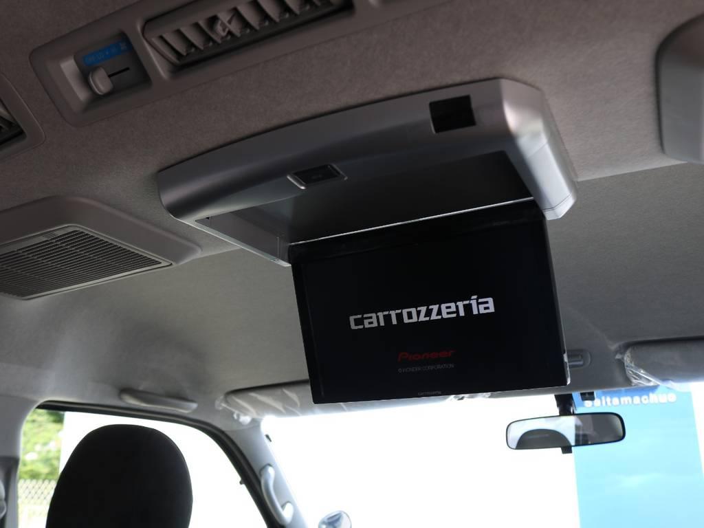 後席フリップダウンモニターで長距離ドライブも快適移動♪ | トヨタ ハイエース 2.7 GL ロング ファインテックツアラー 4脚キャプテンシート 両側自動ドア