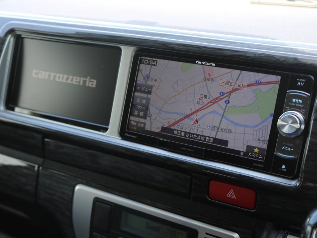 人気のトリプルモニター使用!フルセグSDナビは走行中視聴やBluetooth接続など便利な機能盛りだくさん♪ | トヨタ ハイエース 2.7 GL ロング ファインテックツアラー 4脚キャプテンシート 両側自動ドア