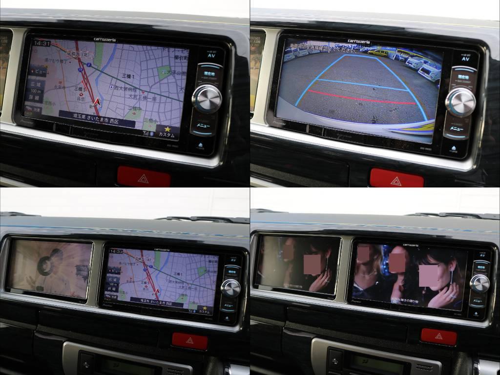 人気のトリプルモニター♪フルセグSDナビは走行中視聴やBluetooth接続など便利な機能盛りだくさん♪ | トヨタ ハイエース 2.7 GL ロング ファインテックツアラー 4WD 4脚キャプテンシート 床張り