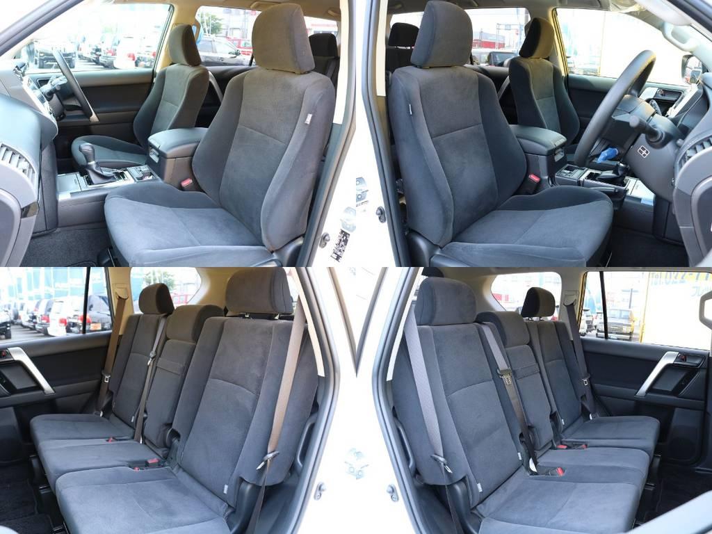 柔らかくも温かみのあるファブリックシートは高級感もあり座り心地抜群です♪シートカバーの装着など追加のカスタムももちろん可能ですのでお気軽にご相談下さい! | トヨタ ランドクルーザープラド 2.7 TX 4WD 5人 20AW&KO2 9ナビBカメ