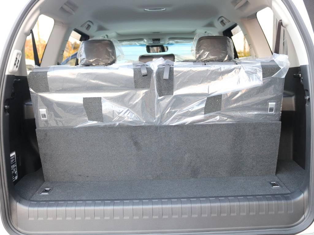 サードシート立ち上げで7人乗りにできます!格納でフラットになり便利! | トヨタ ランドクルーザープラド 2.8 TX Lパッケージ ディーゼルターボ 4WD 7人 新車未登録車 9インチUP