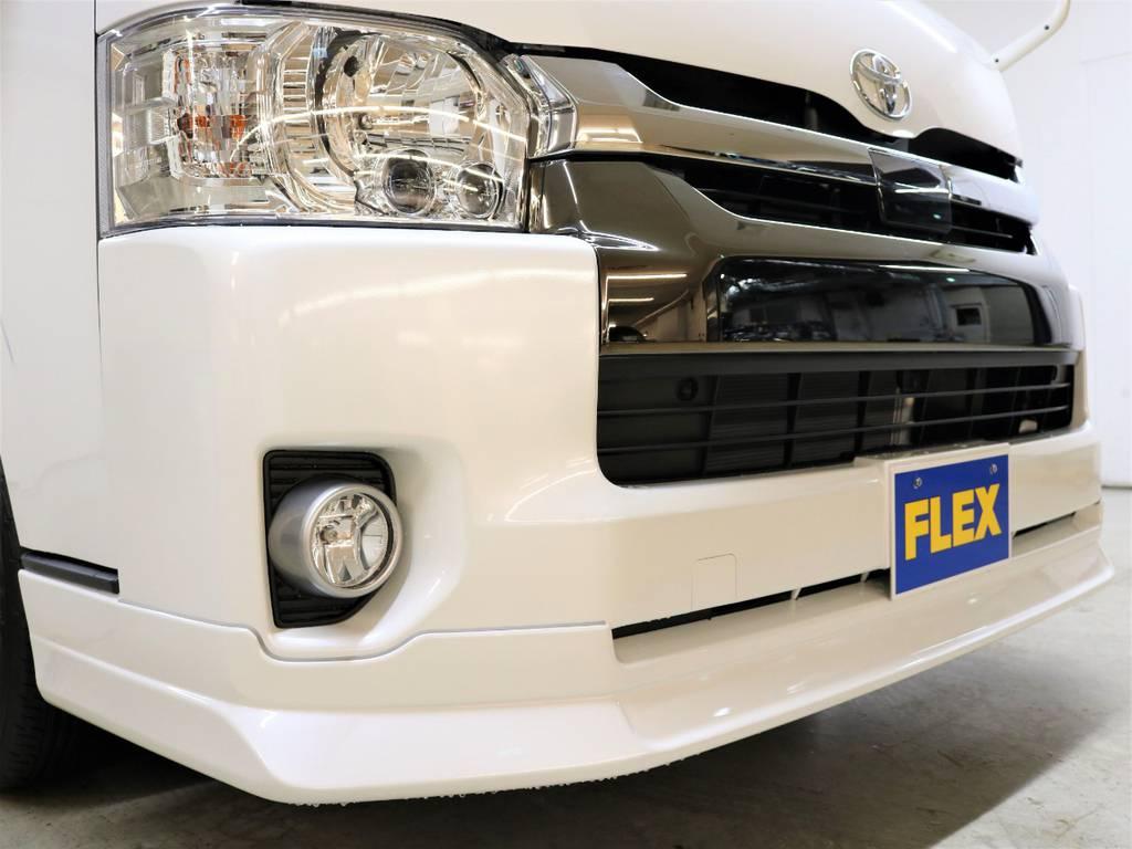 FLEXオリジナル【DelfinoLine】フロントリップスポイラー! | トヨタ ハイエースバン 2.7 スーパーGL 50THアニバーサリー リミテッド ワイド ミドルルーフ ロングボディ4WD 50TH