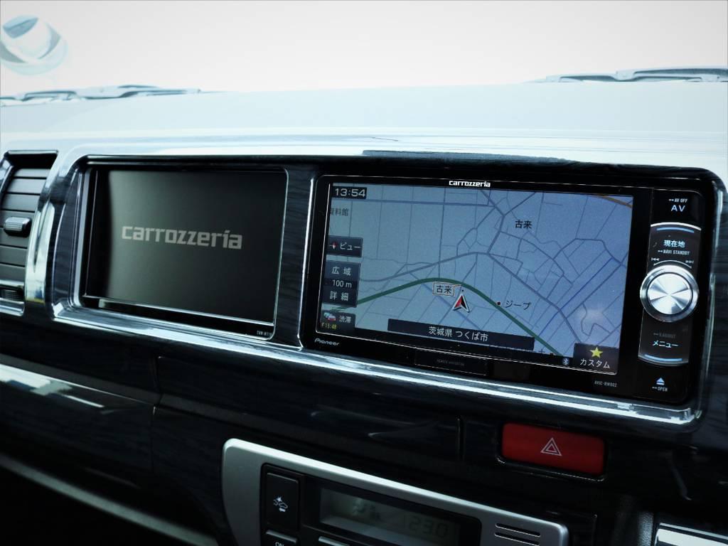 カロッツェリア製SDナビ、フルセグTV、DVD再生可能!カロッツェリア製サイドモニター! | トヨタ ハイエース 2.7 GL ロング ミドルルーフ 内装アレンジVER2