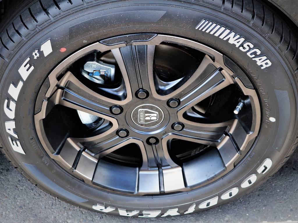 バルベロ17インチアルミホイール、国産ナスカータイヤ | トヨタ ハイエース 2.7 GL ロング ミドルルーフ 内装アレンジVER2