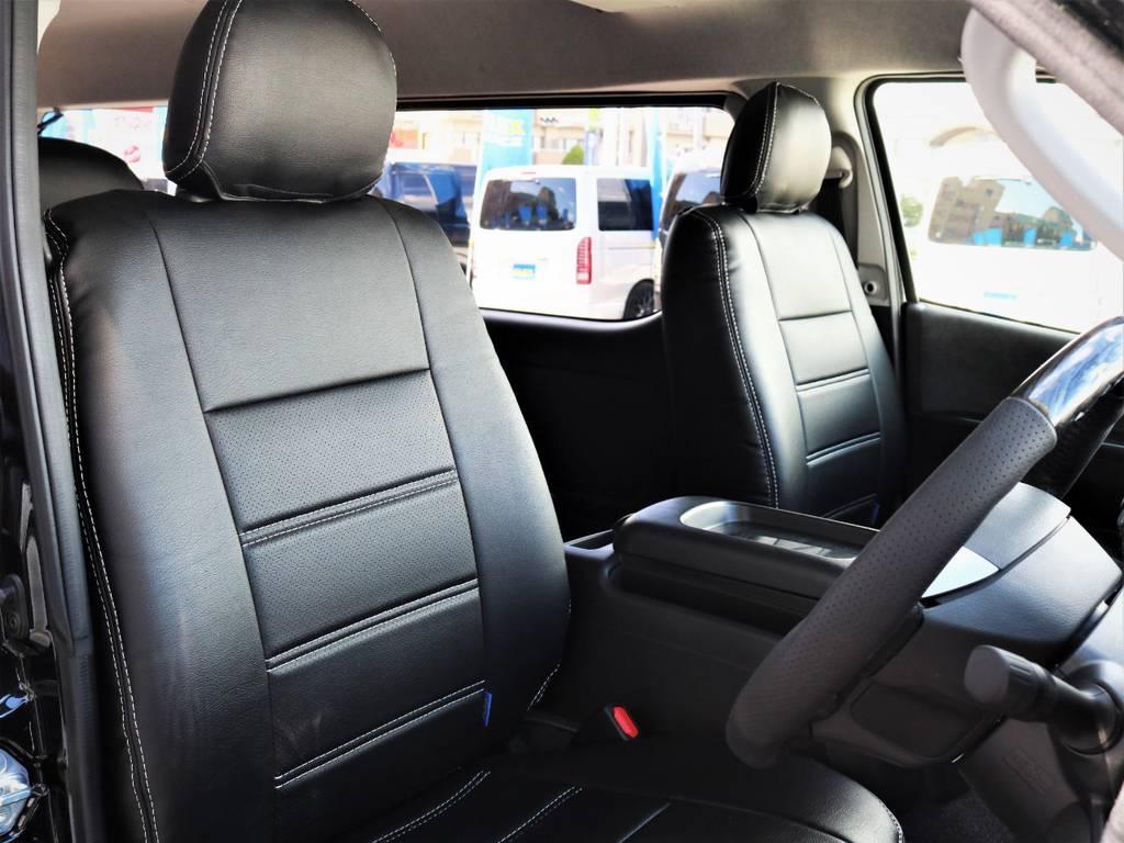 運転席シート、黒革調シートカバー付き! | トヨタ ハイエース 2.7 GL ロング ミドルルーフ 内装アレンジVER2