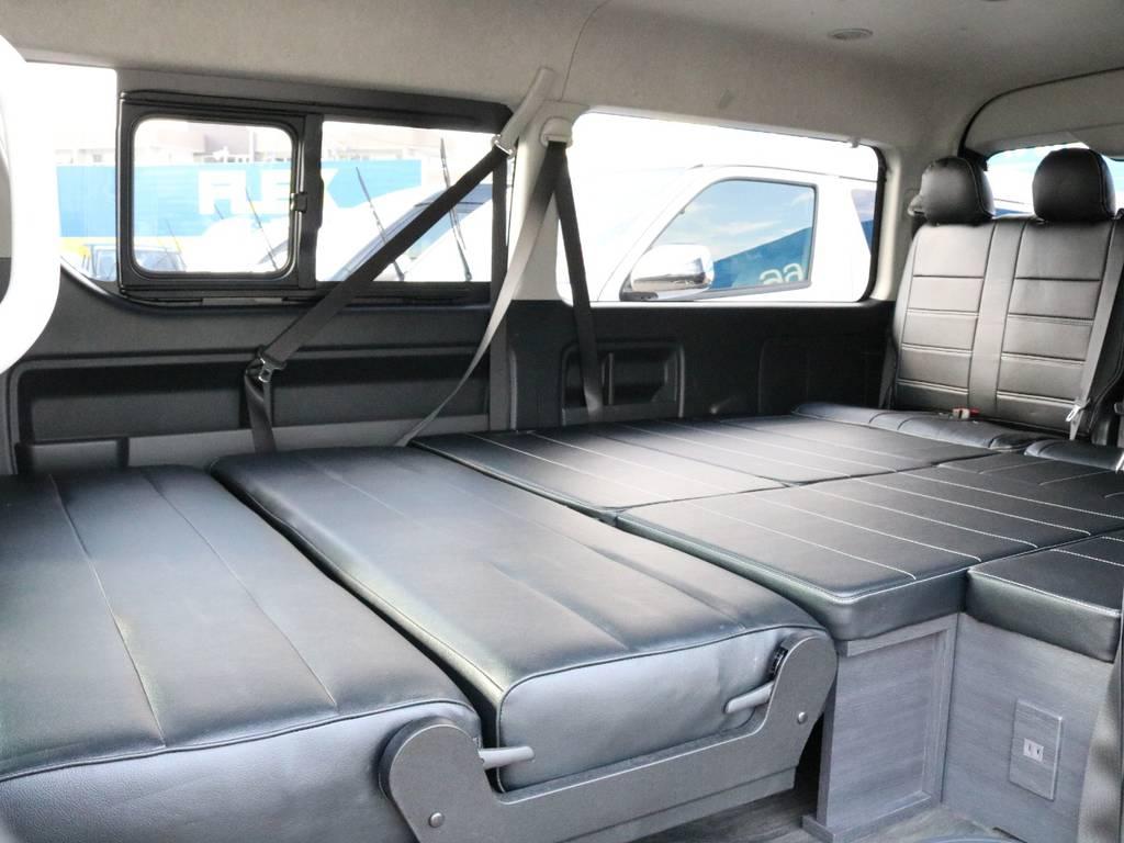 人気内装架装Ver2!フルフラット展開可能で車中泊にもバッチリです!