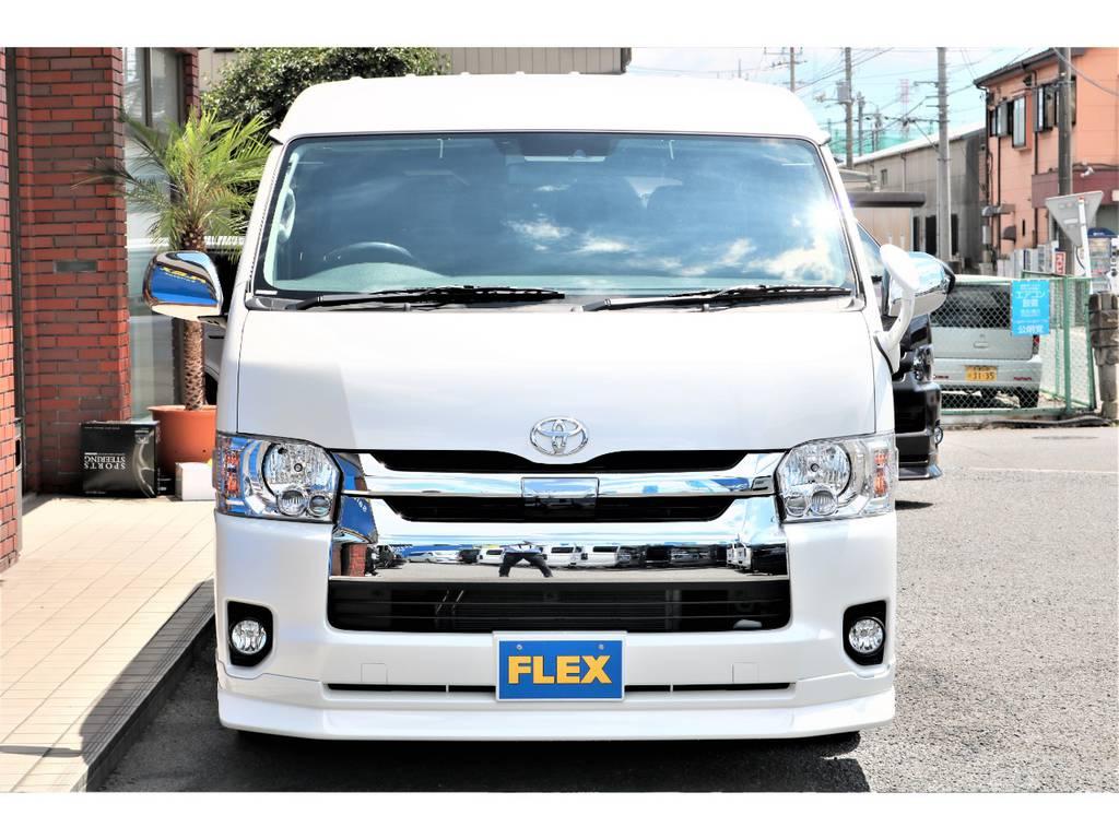 FLEXオリジナルフロントスポイラー!! | トヨタ ハイエース 2.7 GL ロング ミドルルーフ アレンジAS施工