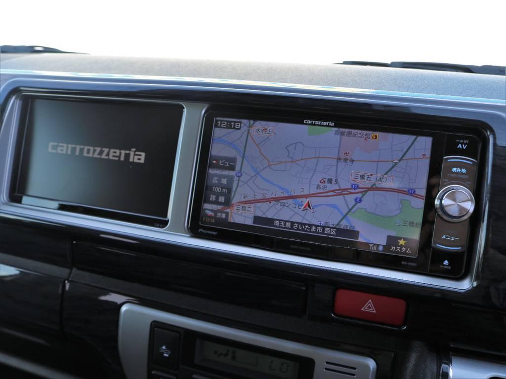 嬉しいサブモニター搭載!ナビと同時にTV&DVD視聴可能! | トヨタ ハイエース 2.7 GL ロング ミドルルーフ アレンジAS トリプルモニター