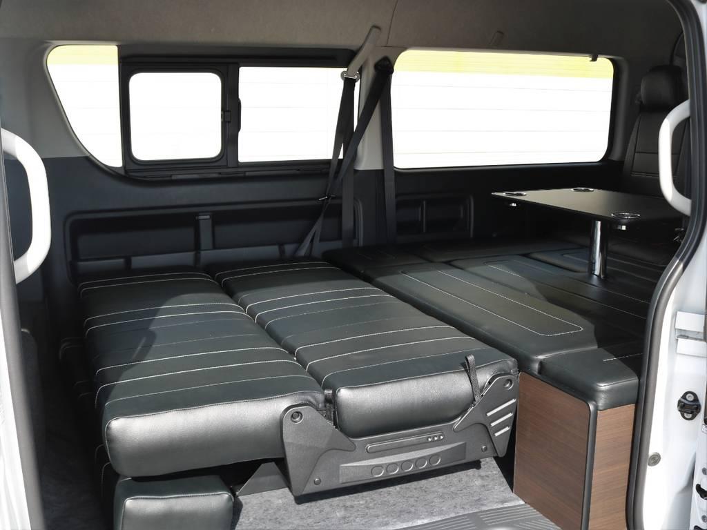 フルフラットベッド仕様!用途に合わせて柔軟に対応! | トヨタ ハイエース 2.7 GL ロング ミドルルーフ アレンジAS トリプルモニター
