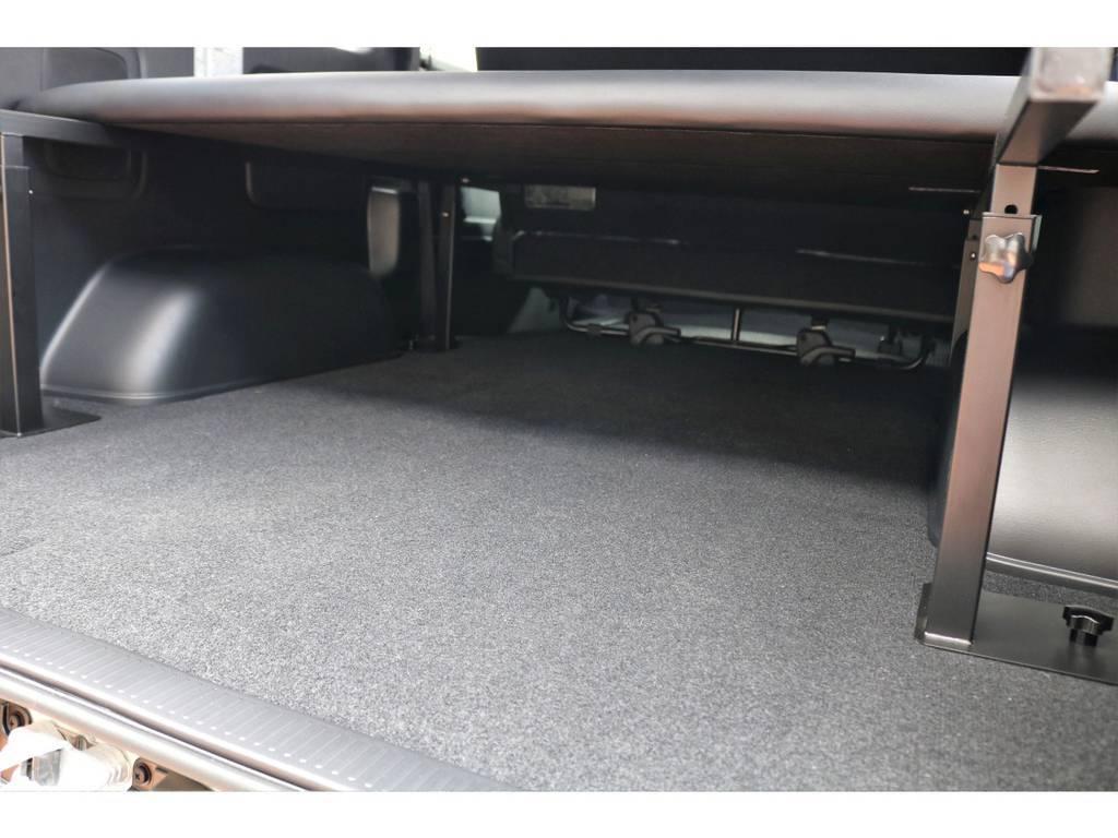 ベッドキット下は1m80cmを超える収納空間がございます!高さを変更出来るので、自分に合う位置に調整いただけます♪
