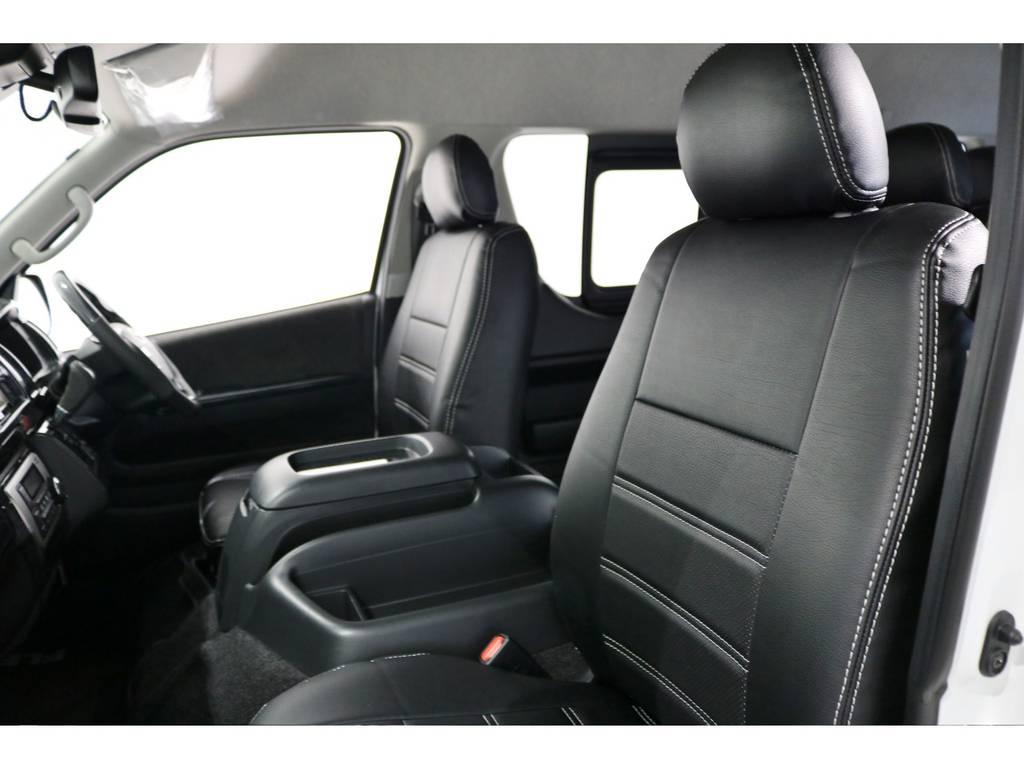 オリジナル黒レザー調シートカバー! | トヨタ ハイエース 2.7 グランドキャビン 4WD