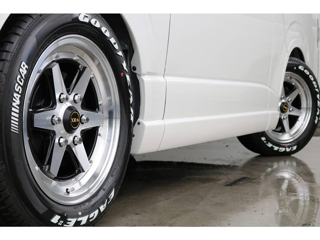 アルミホイールはXR-6、タイヤはグッドイヤーのナスカータイヤです!!