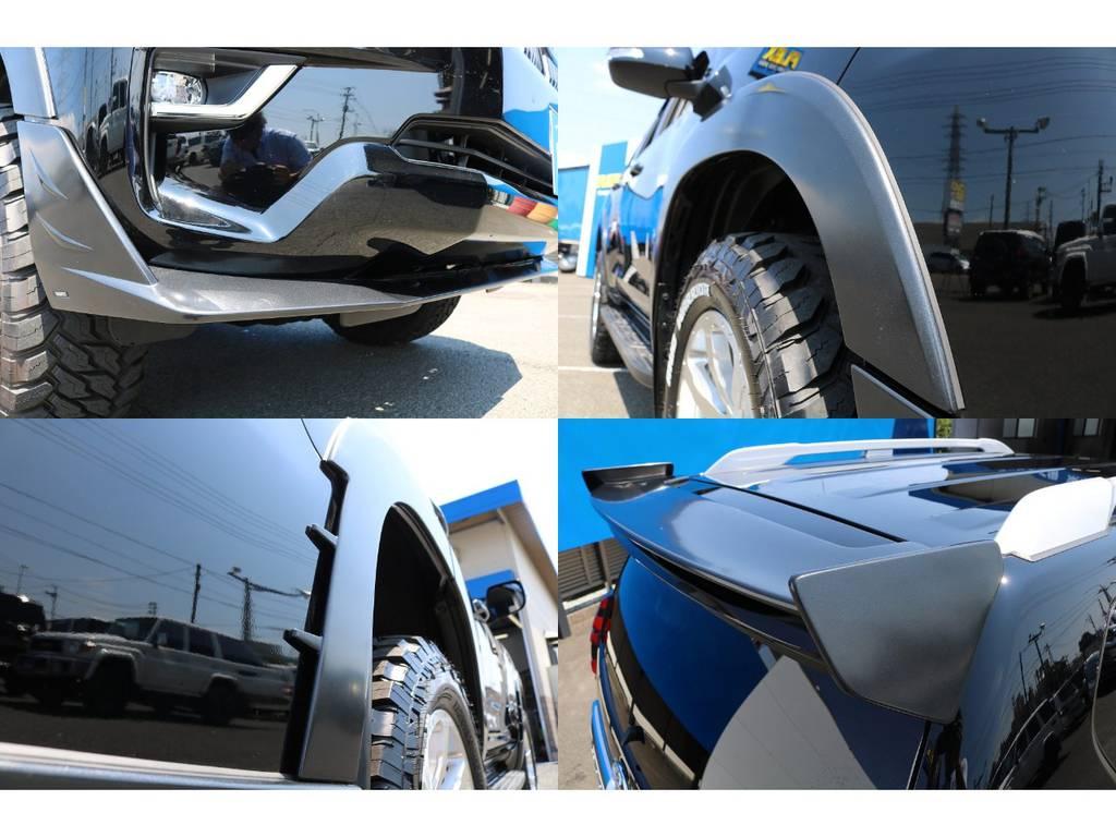フロント、リヤサイド、リヤルーフ、オーバーフェンダーとFLEXオリジナルエアロキット★エアロパーツはマットグレーに塗装済みです♪他の方と差を付けたい方は必見です!! | トヨタ ランドクルーザープラド 2.7 TX 4WD 5人 FLEXエアロキット 20AW