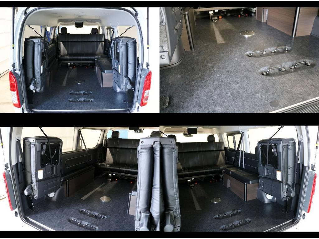 リアスペースは、センターマットやセンターテーブルを用途に応じて脱着可能です!さらに重歩行用フロア施工で防音効果やお手入れも楽々です!