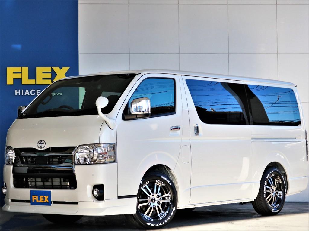 新車 ハイエース S-GLダークプライムⅡ フローリング内装 街乗りしやすく人気のガソリン車 FLEX定番カスタムです♪即納車可能♪