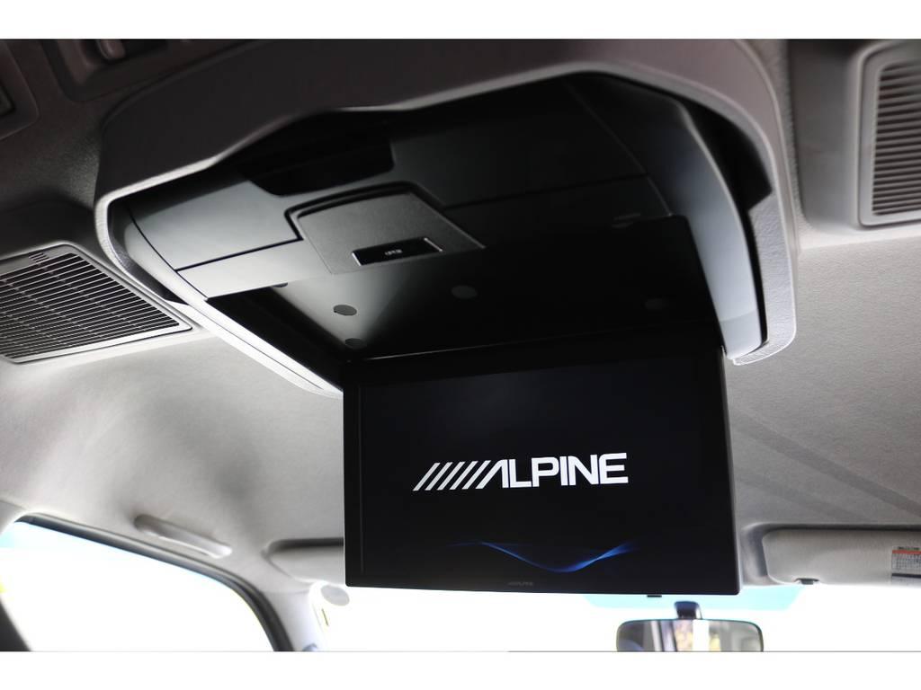 新品アルパイン12.8インチリアフリップダウンモニター取り付け!   トヨタ レジアスエース 2.7 スーパーGL ワイド ミドルルーフ ロングボディ 4WD 買取直販4WDスタイル