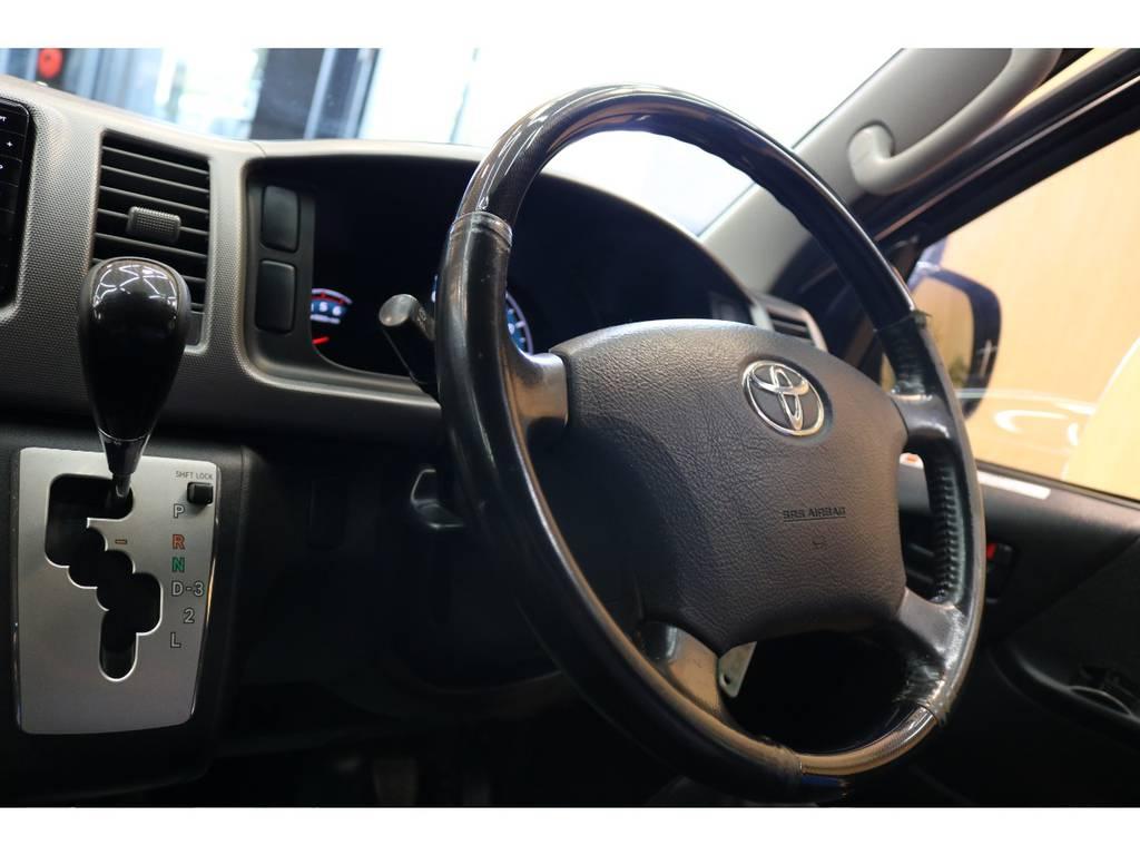 ハンドルもプライムセレクションですよ♪ | トヨタ ハイエースバン 3.0 スーパーGL プライムセレクション ロング ディーゼルターボ 4WD ESSEXアルミホイール