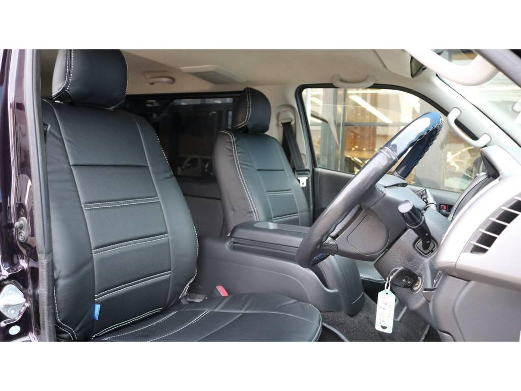 新品の黒革調シートカバー装着しましたよ♪ | トヨタ ハイエースバン 3.0 スーパーGL プライムセレクション ロング ディーゼルターボ 4WD ESSEXアルミホイール