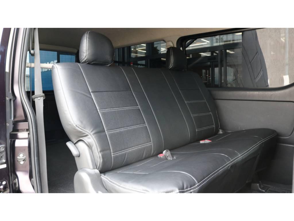 勿論後席にもシートカバー装着しております♪ | トヨタ ハイエースバン 3.0 スーパーGL プライムセレクション ロング ディーゼルターボ 4WD ESSEXアルミホイール
