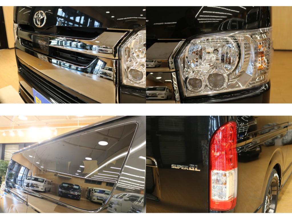 【外装詳細】トヨタセーフティセンス付・特別仕様車のダークメッキグリル・視認性の良いLEDヘッドライト・パワースライドドア完備。