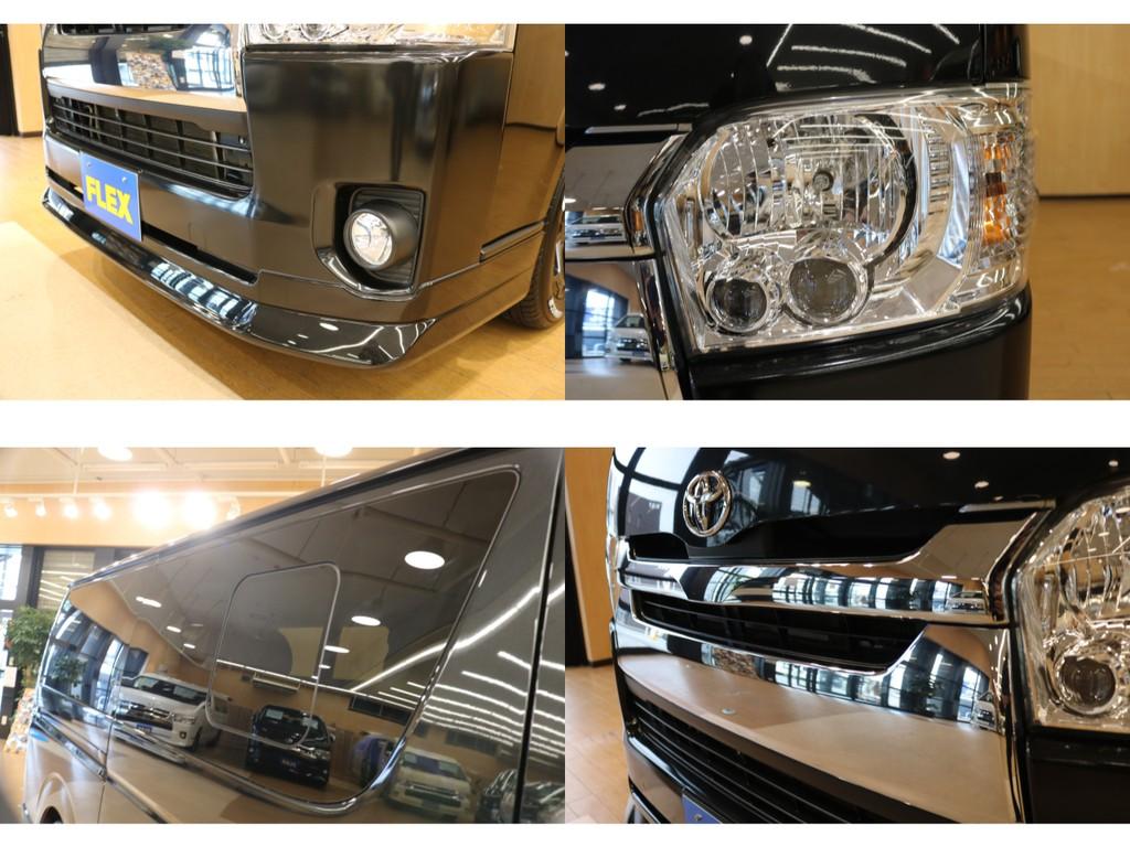 【外装詳細】新品オリジナルリップ・視認性に優れたLEDヘッドランプ完備・後席小窓付き。