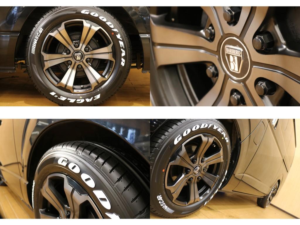 【タイヤ&ホイール詳細】当社オリジナルバルベロ17インチホイールオリジナルカラー&グッドイヤーナスカータイヤ完備。