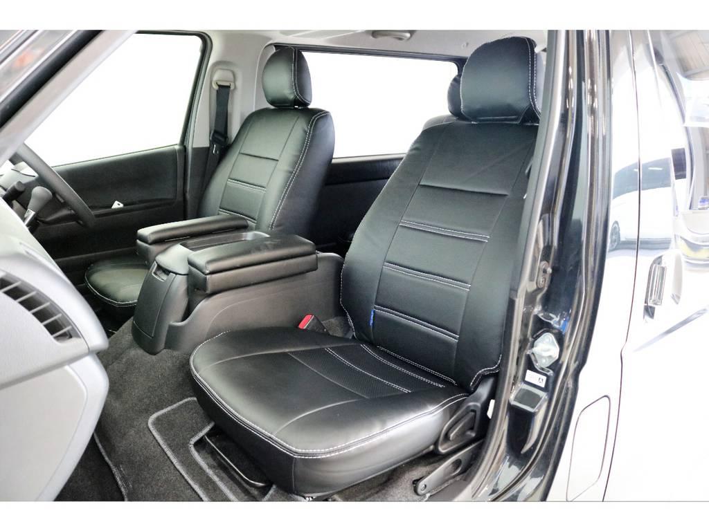 シートには新品でFLEXオリジナルシートカバーを装着して高級感を演出しています♪ | トヨタ ハイエースバン 3.0 スーパーGL ロング ディーゼルターボ 4WD