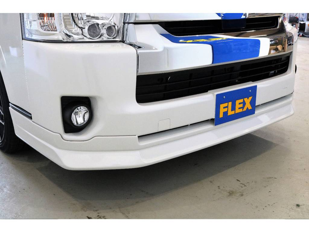 FLEXオリジナルフロントリップスポイラー!! | トヨタ ハイエース 2.7 GL ロング ミドルルーフ 4WD TSS付